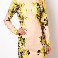 Nude & Yellow Floral Print Long Sleeve Bodycon Dress