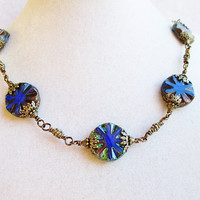 Blue & Green Picasso Style Czech Glass Flowers Detailed Beaded Bronze Necklace