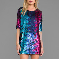 BLAQUE LABEL Sequins Shift Dress in Matte Magenta
