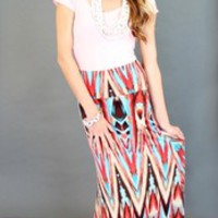 Fly With Me Maxi Skirt Red and Blue Multi - Modern Vintage Boutique