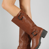 NB200-51 Buckle Round Toe Knee High Boot
