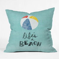 Nick Nelson Lifes A Beach Outdoor Throw Pillow