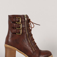 Bumper Hudson-01 Buckle Lace Up Ankle Bootie