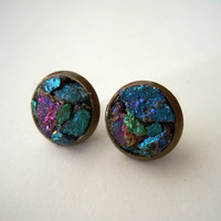 Raw Peacock Ore Stud Earrings -Chunky - Boho Chic - Handcrafted Artisan Earrings