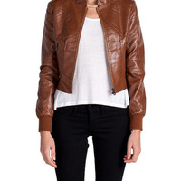 Collarless Zip Up Leather Jacket