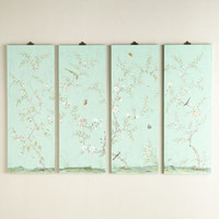 NM EXCLUSIVE Turquoise Kariya Floral Wall Panels, Four