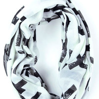 White Cross Print Scarf