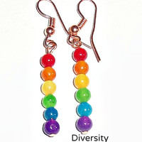 Rainbow Earrings Dangling Rainbow Quartzite & Copper Fishhook Wire By A'Nena Jewelry