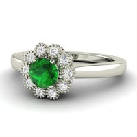 Floral shaped Emerald Ring with Diamonds in 14K Gold - Ballard