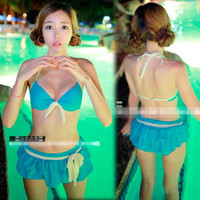Womens Halter Bikini Set 3 Pieces Bow Bathing Ruffle Skirt Swimwear New S/M 1d7