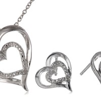 Sterling Silver 0.03 cttw Diamond Heart Earrings and Pendant Necklace Jewelry Set (I/J,I3)