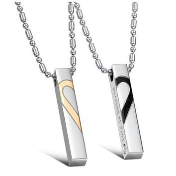 """JBG Fashion Titanium Stainless Steel Love Heart Jigsaw Pendant Necklace Engraved """"Love is Believe"""" For Couples"""