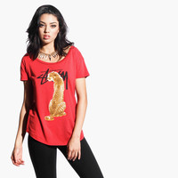 Women's Stock Cheetah Wide Neck Crew Tee (Red)