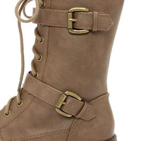 Soda Desti Tan Mid-Calf Combat Boots