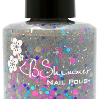 When The Doves Sigh Gray Creally Glitter Nail Polish- 0.5 oz Full Sized Bottle