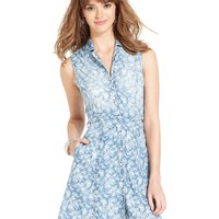 Angie Juniors Dress, Sleeveless Rose-Print Shirtdress