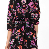 Abstract Floral Dress w/ Belt