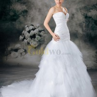 [US$284.99] Sweetheart Satin Mermaid Gown with Brooch and Tulle Skirt