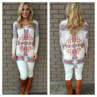 Brick & Blue Aztec Print Knit Top