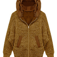 ROMWE | ROMWE Batwing Sleeved Hooded Brown Cardigan, The Latest Street Fashion