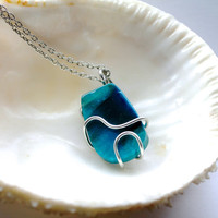 Agate Necklace made in Hawaii, turquoise blue wire wrapped stone jewelry