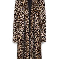 ROMWE | ROMWE Lapels Pocketed Leopard Extra Long Coat, The Latest Street Fashion