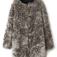 ROMWE | ROMWE Zippered Furry Grey Coat, The Latest Street Fashion