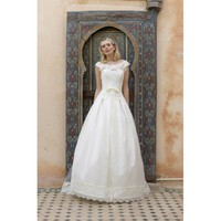 Lace Boat Neck Full Length Train Wedding Dress