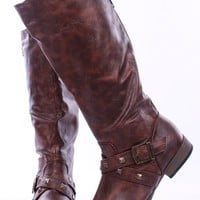 BROWN CRINKLE LEATHER STUD STRAPPY REAR ZIP KNEE HIGH BOOTS