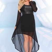 BLACK FAUX LEATHER CHIFFON HIGH LOW DRESS