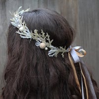 Silver and Gold Winter Crown, Pearl and Crystal, Gold Crown, Bridal Headpiece, New Years Eve, Winter Headpiece, Princess Crown, Ice Princess