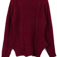 Fireside Irregular Hem Cable Sweater