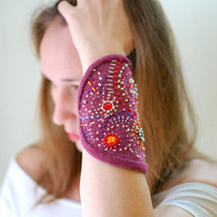 Wool cuff hand embroidered Swarovski unusual asseccories crystals seed beads foxberry taffeta eco boho chic style