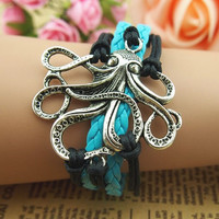 personality charm jewelry, cute octopus fish woven bracelets jewellery girl boy kid best gift