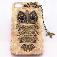 pretty owl iphone case, cute bird charm iphone 5s covers, iphone 4s case, wood iphone 5 cover, cool iphone 4 back cover