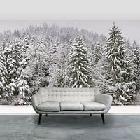 'Snowy Trees' Self Adhesive Wallpaper Mural