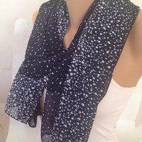 Navy Blue Scarf - Water Drop Blue Scarf - Shawl - Bridesmaid Gift - Scarfs