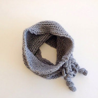 Grey Mini Scarf with Rose