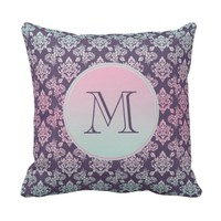 Custom purple monogram pillow damask pattern