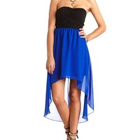 HI-LO STRAPLESS CHIFFON 2FER DRESS