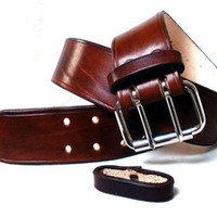 "Lakeside Leather — Wide leather belt, 2"", brown, men, steel roller buckle"