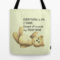 Teddy Bear Tote Bag by Veronica Ventress