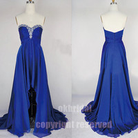 royal blue dress, high low dress, blue prom dress, chiffon prom dress, evening dress, RE195
