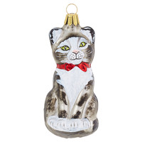 "4"" Cat Ornament, Black/White"