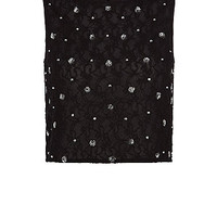 Teens Black Embellished Lace Crop Top