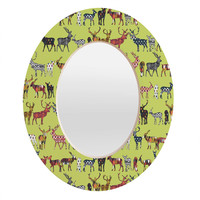 Sharon Turner Pistachio Spice Deer Oval Mirror
