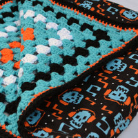 Digital skull crochet baby blanket, granny square reversible crochet baby blanket