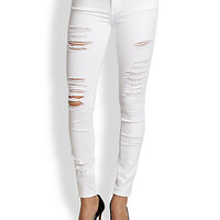 Le Color Rip Shredded Skinny Jeans
