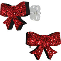 Ruby Red Glitter Ribbon Stud Earrings | Body Candy Body Jewelry