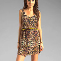 Eight Sixty Leopard dress neon belt s small $125 nwt